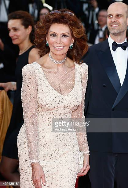 Sophia Loren attends the Voce Umana premiere during the 67th Annual Cannes Film Festival on May 20 2014 in Cannes France
