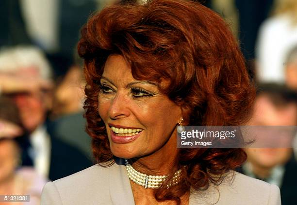 Sophia Loren attends the wedding of Carlo Ponti Jr and Andrea Meszaros September 18 2004 in Budapest Hungary