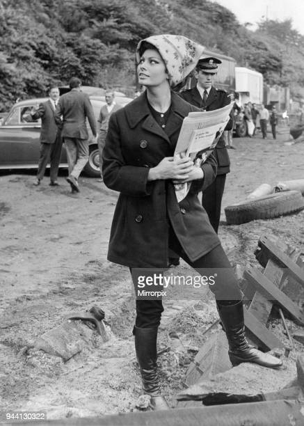 Sophia Loren August 1965 Italian actress Sophia Loren pictured arriving at Crumlin where she filmed scenes for the film 'Arabesque' at the town's...