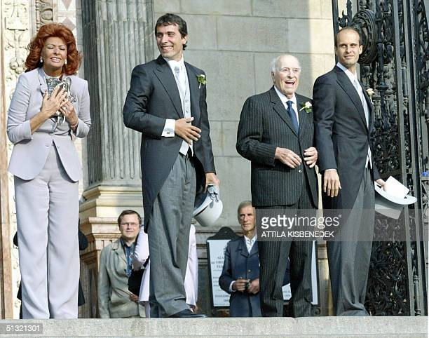 Sophia Loren Carlo Ponti junior Carlo Ponti and Eduard Ponti pose for the crowd in front of the Basilica in Budapest prior to the wedding of Carlo...