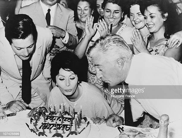 Sophia Loren Celebrating Her 29Th Birthday In Rome On September 20Th 1963