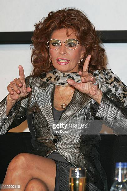 Sophia Loren during Pirelli 2007 Calender News Conference at Hilton Park Lane in London Great Britain