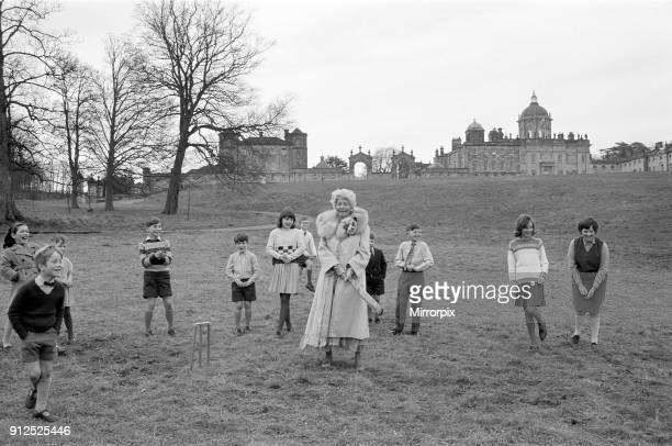 Sophia Loren during the filming of 'Lady L' at Castle Howard, where she plays a woman of 80 years old. Pictured playing cricket with the local...