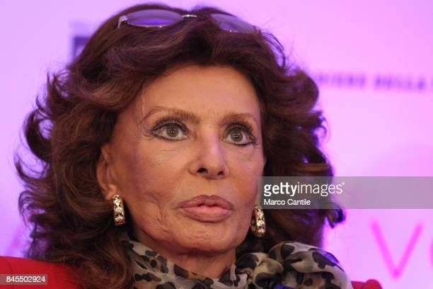 Sophia Loren during the press conference at the Hotel Vesuvio about her Human Voice movie