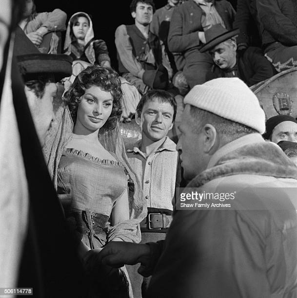 Sophia Loren Frank Sinatra and Director Stanley Kramer in 1957 during the filming of 'The Pride and the Passion' in Spain