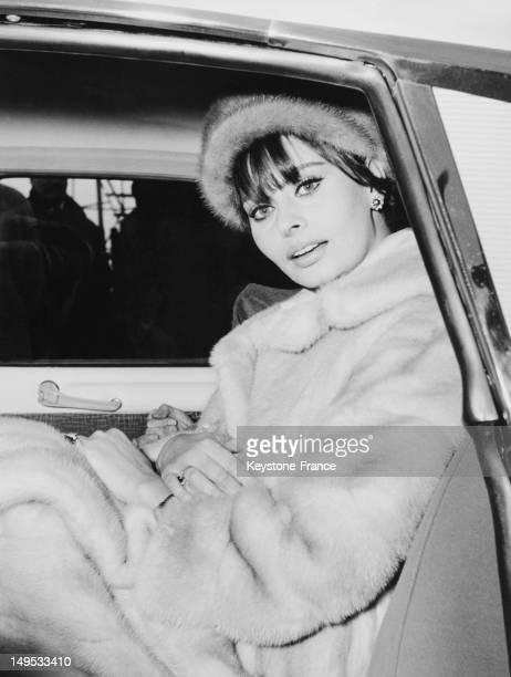 Sophia Loren in a car in December 1962 in Milan Italy