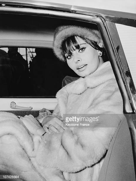 Sophia Loren In A Car In Milan On December 1962