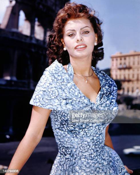 Sophia Loren Italian actress wearing a shortsleeve blue and white floral print pattern dress circa 1960