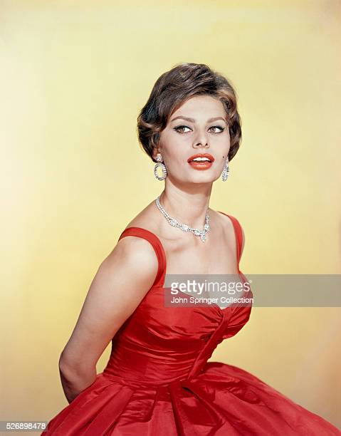 Sophia Loren Italian film star wearing red dress Undated photograph