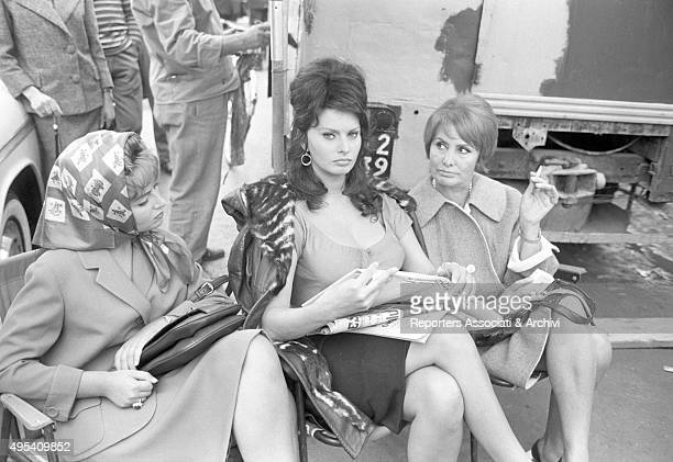 Sophia Loren relaxing on the set of the film Boccaccio '70 between her sister Maria Scicolone and her mother Romilda Villani The Italian actress is...