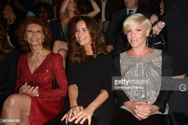 Sophia Loren Roberta Armani and Pink attend at the Giorgio Armani Prive show as part of Paris Fashion Week Haute Couture Fall/Winter 20142015 at...