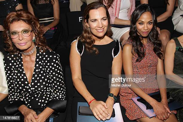 Sophia Loren, Roberta Armani and Zoe Saldana attend the Giorgio Armani Prive Haute-Couture Show as part of Paris Fashion Week Fall / Winter 2012/13...