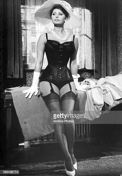 Sophia Loren wearing lingerie in a scene from the film 'The Millionairess' 1960