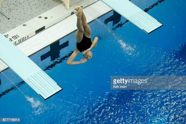 Sophia McAfee of the Trojan Dive Club dives during the Senior Women's 1m Semi Final during the 2017 USA Diving Summer National Championships on...