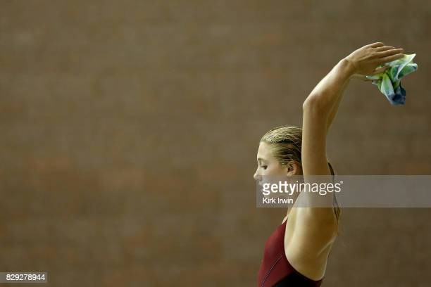 Sophia McAfee of the Trojan Dive Club prepares to take a dive during the Senior Women's 3m Springboard Preliminary during the 2017 USA Diving Summer...