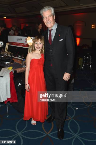 Sophia Montoya and Macy's Inc Chairman and CEO Terry J Lundgren attend the American Heart Association's Go Red For Women Red Dress Collection 2017...