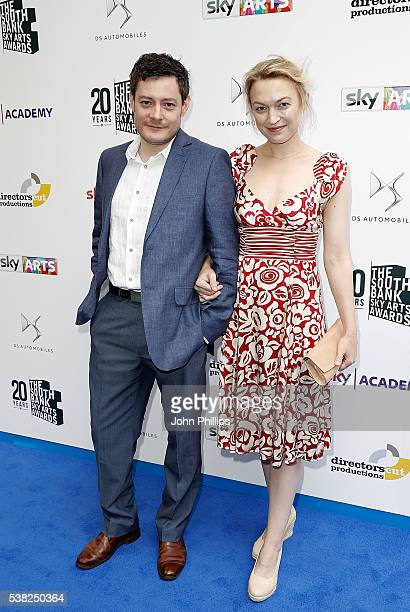 Sophia Myles and guest arrive for the The South Bank Sky Arts Awards at The Savoy Hotel on June 5 2016 in London England