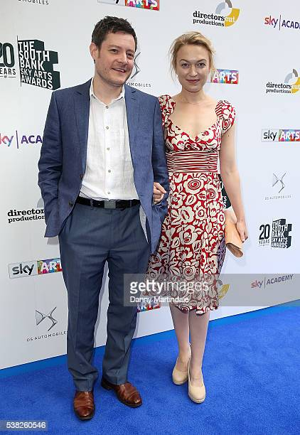 Sophia Myles and guest arrives for the The South Bank Awards at The Savoy Hotel on June 5 2016 in London England