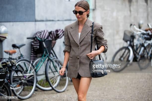 Sophia Roe seen wearing plaid brown blazer outside Baum und Pferdgarten during Copenhagen Fashion Week Spring/Summer 2020 on August 08 2019 in...