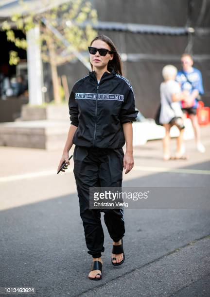 Sophia Roe wearing track suit is seen outside MUF10 during the Copenhagen Fashion Week Spring/Summer 2019 on August 8 2018 in Copenhagen Denmark