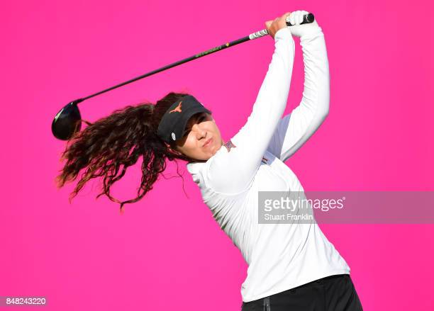 Sophia Schubert of USA plays a shot during the final round of The Evian Championship at Evian Resort Golf Club on September 17 2017 in EvianlesBains...