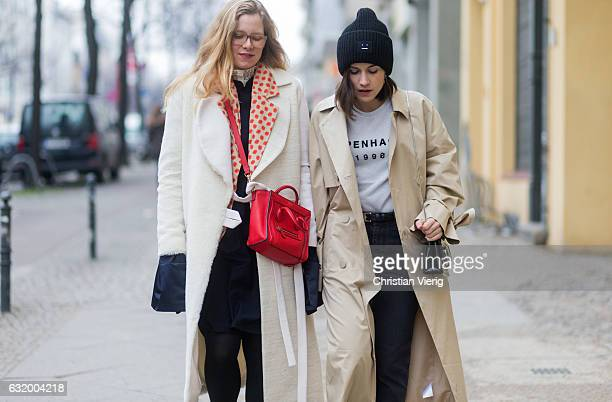 Sophia Schwan wearing a creme coat Bobby Kolade dress william fan red Celine bag Zara shoes Blazer Ef Berlin and Carola Pojer wearing a trench coat...