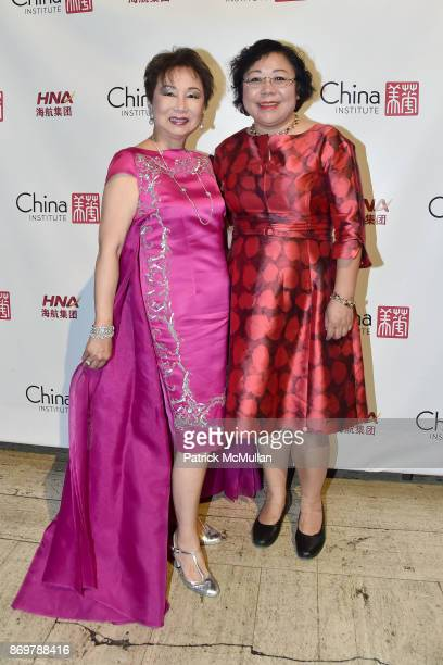 Sophia Sheng and Coco Han attend China Institute 2017 Blue Cloud Gala at Cipriani 25 Broadway on November 2 2017 in New York City