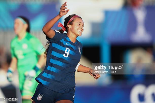 Sophia Smith of the United States celebrates her team's fifth goal during the FIFA U20 Women's World Cup France 2018 group C match between USA and...
