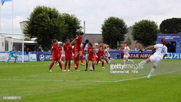 General view during the FIFA U20 Women's World Cup France 2018 group C match between Spain and USA at Stade du Clos Gastel on August 13 2018 in Dinan...