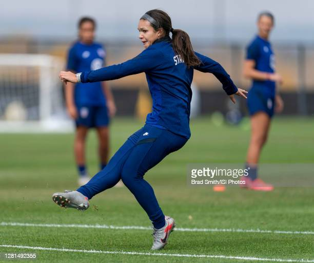 Sophia Smith of the USWNT follows through on a shot during a training session at Dick's Sporting Goods Park training fields on October 20 2020 in...