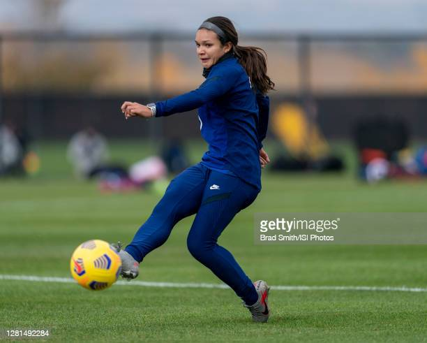 Sophia Smith of the USWNT takes a shot during a training session at Dick's Sporting Goods Park training fields on October 20 2020 in Commerce City...