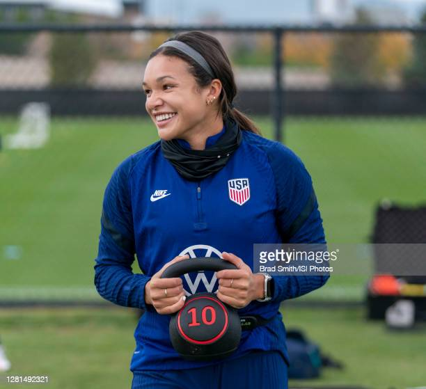 Sophia Smith of the USWNT warms up during a training session at Dick's Sporting Goods Park training fields on October 20 2020 in Commerce City...
