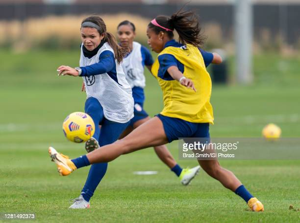 Sophia Smith scores past Margaret Purce of the USWNT during a training session at Dick's Sporting Goods Park training fields on October 20 2020 in...