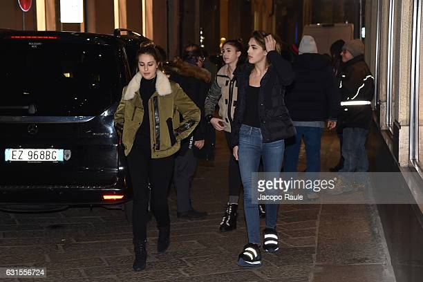 Sophia Stallone Scarlet Stallone and Sistine Stallone are seen leaving dolce and gabbana store on January 12 2017 in Milan Italy