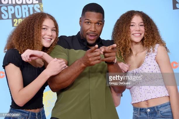 Sophia Strahan Michael Strahan and Isabella Strahan attend Nickelodeon Kids' Choice Sports 2019 at Barker Hangar on July 11 2019 in Santa Monica...