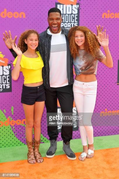 Sophia Strahan Michael Strahan and Isabella Strahan attend Nickelodeon Kids' Choice Sports Awards 2017 at Pauley Pavilion on July 13 2017 in Los...