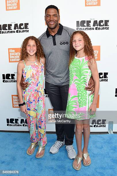 Sophia Strahan Michael Strahan and Isabella Strahan attend the Ice Age Collision Course New York screening at Walter Reade Theater on July 7 2016 in...
