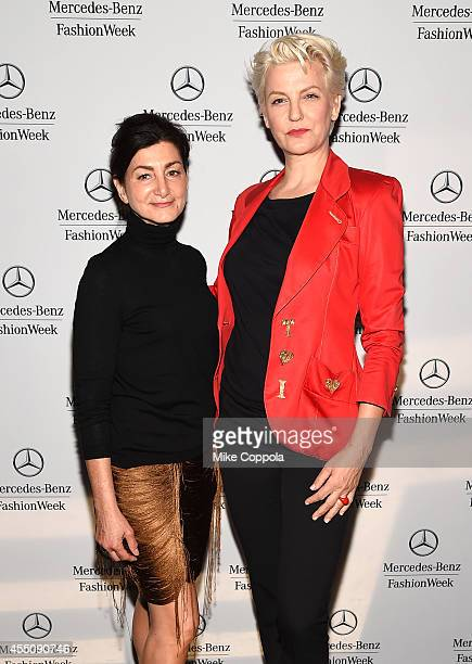 Sophia Tezel and Mariana Verkerk attend the Mercedes-Benz Lounge during Mercedes-Benz Fashion Week Spring 2015 at Lincoln Center on September 9, 2014...