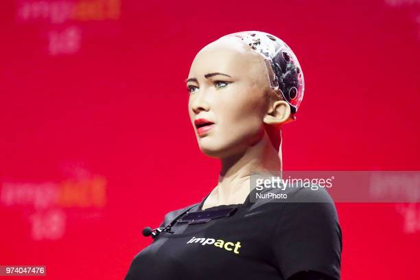 Sophia the robot as a special guest of the Impact18 congress held in ICE Congress Centre Krakow Poland on 13 June 2018 It is the biggest event of...