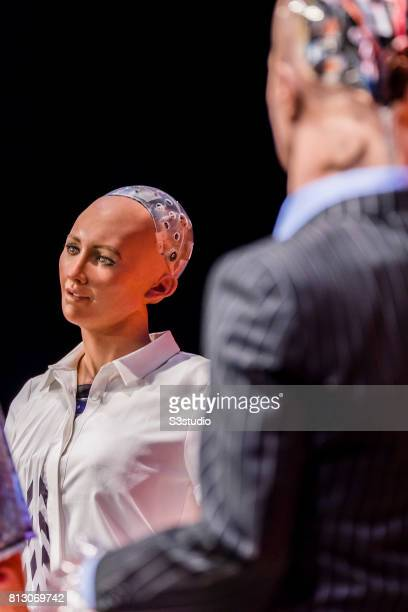 Sophia the Robot robot of Hanson Robotics and Han the Robot robot of Hanson Robotics attend the Day 2 of the RISE Conference 2017 at the Hong Kong...