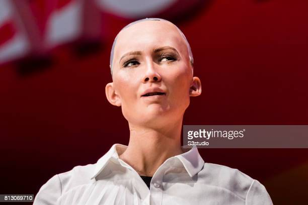 Sophia the Robot robot of Hanson Robotics attends the Day 2 of the RISE Conference 2017 at the Hong Kong Convention and Exhibition Centre on 12 July...