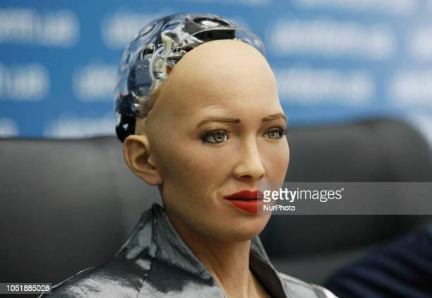'Sophia the Robot' speaks during a pressconference in Kiev Ukraine 11 October 2018 The humanoid 'Sophia the Robot' developed by Hong Kongbased...