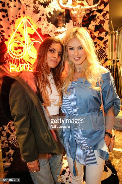 Sophia Thomalla and Nina Ensmann pose during the store event 'Moose Knuckles at Breuninger The Future Tribe Party' on September 23 2017 in...