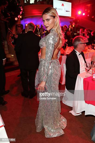 Sophia Thomalla wearing a silver dress by Katia Convents during the German Film Ball 2016 party at Hotel Bayerischer Hof on January 16 2016 in Munich...