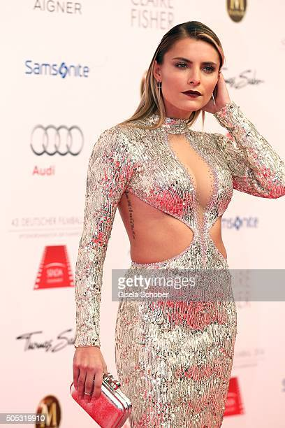 Sophia Thomalla wearing a silver dress by Katia Convents tattoo during the German Film Ball 2016 arrival at Hotel Bayerischer Hof on January 16 2016...