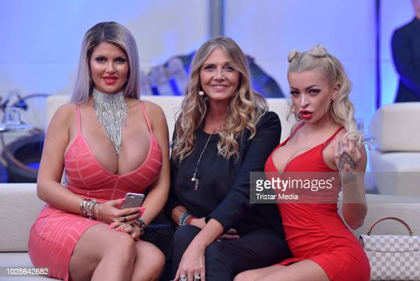Sophia Vegas Nicole BelstlerBoettcher and Katja Krasavice during the finals of Promi Big Brother 2018 at MMC Studios on August 31 2018 in Cologne...