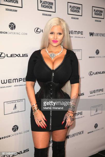 Sophia Vegas Wollersheim attends the Thomas Rath show during Platform Fashion January 2018 at Areal Boehler on January 28 2018 in Duesseldorf Germany