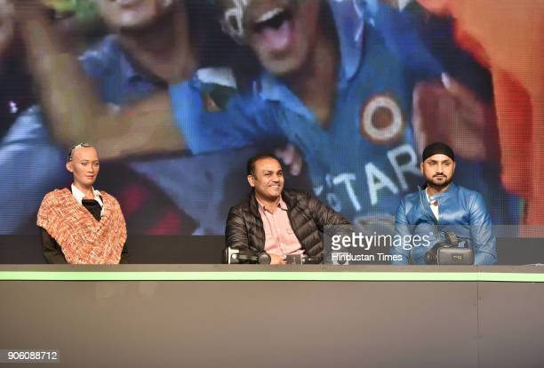 Sophia world's first social humanoid robot with veteran cricketer Virender Sehwag and Harbhajan Singh present to reimagine VIVO IPL 2018 on January...