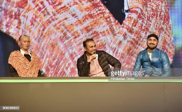 Sophia world's first social humanoid robot with veteran cricketer Virender Sehwag and Harbhajan Singh present to reimagine VIVO IPL 2018 on January...