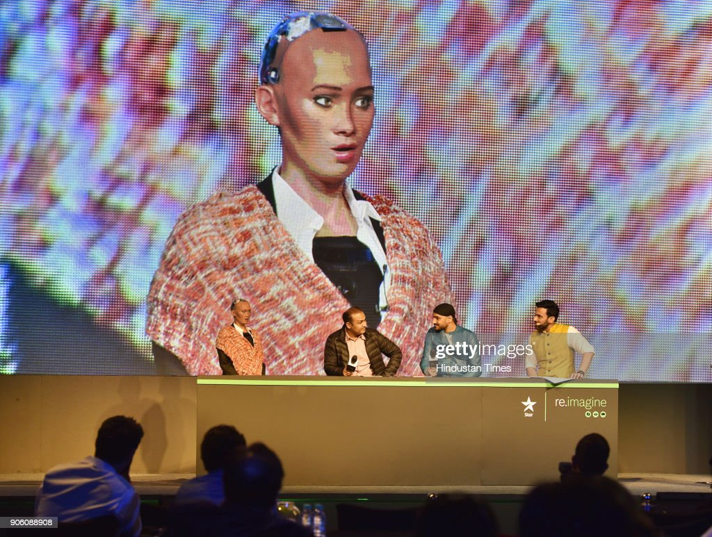 Sophia, World's First Social Humanoid Robot At Reimagine VIVO Indian Premier League 2018 Event